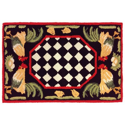 Treport Rooster Handmade Black Indoor/Outdoor Area Rug Rug Size: 2 x 3