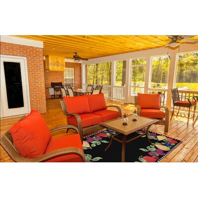 Treport Fruits Handmade Black Indoor/Outdoor Area Rug Rug Size: 5 x 76