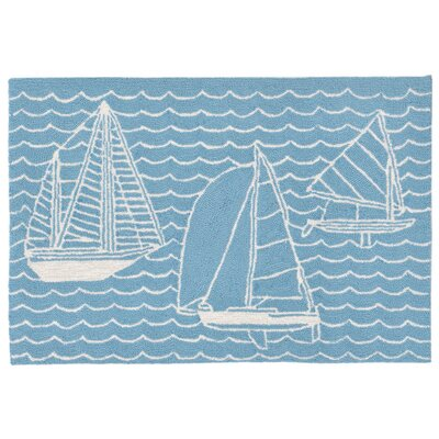 Northfield Sails Handmade Blue Indoor/Outdoor Area Rug Rug Size: 2 x 3