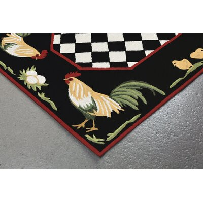 Treport Rooster Handmade Black Indoor/Outdoor Area Rug Rug Size: Rectangle 5 x 76