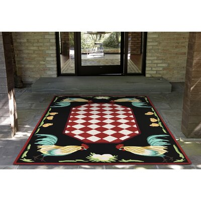Treport Rooster Handmade Red Indoor/Outdoor Area Rug Rug Size: 76 x 96