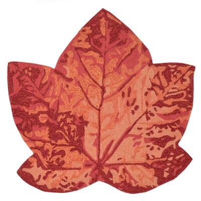 Treport Maple Leaf Handmade Orange Indoor/Outdoor Area Rug