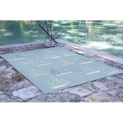 Northfield Sails Handmade Water Resistant Blue Indoor/Outdoor Area Rug Rug Size: 5 x 76