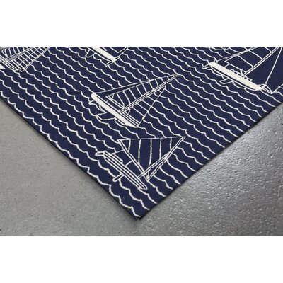 Northfield Sails Handmade Navy Indoor/Outdoor Area Rug Rug Size: 18 x 26