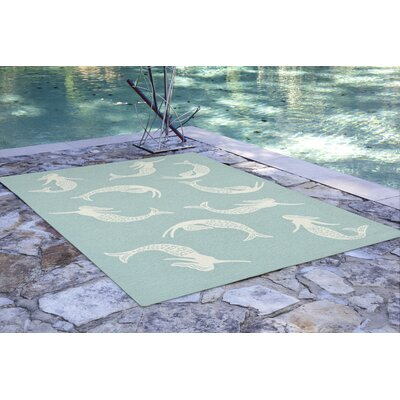 Northfield Mermaids Handmade Water Resistant Blue Indoor/Outdoor Area Rug Rug Size: Rectangle 5 x 76