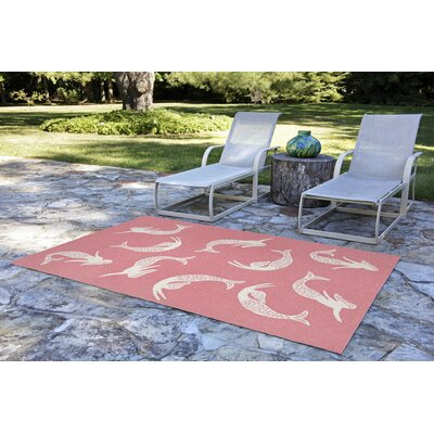 Northfield Mermaids Handmade Water Resistant Coral Indoor/Outdoor Area Rug Rug Size: 76 x 96