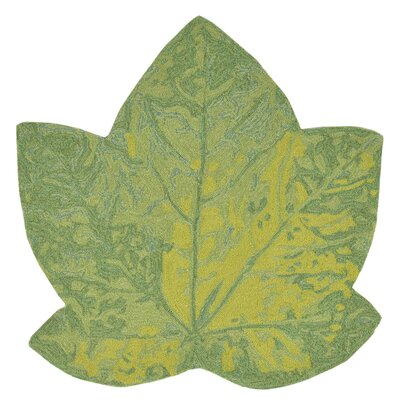Treport Maple Leaf Handmade Green Indoor/Outdoor Area Rug