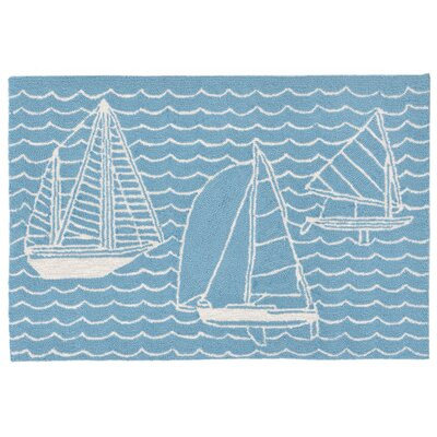 Northfield Sails Handmade Blue Indoor/Outdoor Area Rug Rug Size: 18 x 26