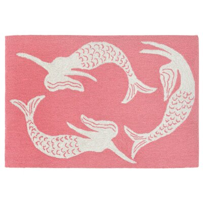 Sweeney Mermaids Handmade Orange Indoor/Outdoor Area Rug Rug Size: 18 x 26