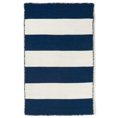 Ranier Stripe Hand-Woven Navy Indoor/Outdoor Area Rug Rug Size: 83 x 116