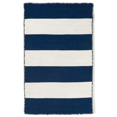 Ranier Stripe Hand-Woven Navy Indoor/Outdoor Area Rug Rug Size: 36 x 56