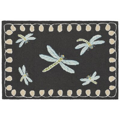 Calderon Dragonfly Hand-Tufted Black Indoor/Outdoor Area Rug Rug Size: 18 x 26