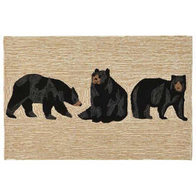 Buckeys Bears Hand-Tufted Natural Indoor/Outdoor Area Rug Rug Size: 18 x 26