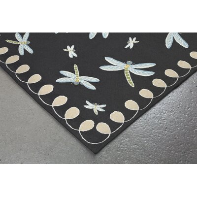 Calderon Dragonfly Hand-Tufted Black Indoor/Outdoor Area Rug Rug Size: 5 x 76