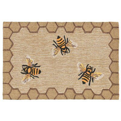 Calderon Honeycomb Bee Hand-Tufted Natural Indoor/Outdoor Area Rug Rug Size: 18 x 26