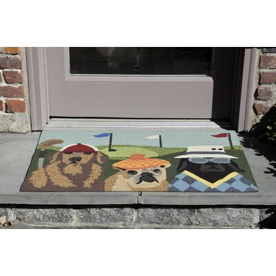 Mcmillan Putts and Mutts Hand-Tufted Green Indoor/Outdoor Area Rug Rug Size: 18 x 26