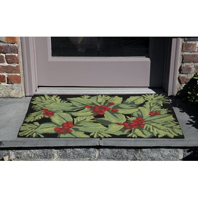 Hollyberries Hand-Tufted Black Indoor/Outdoor Area Rug Rug Size: 26 x 4