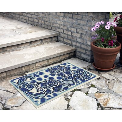 Bryanna Fu Dogs Hand-Tufted Blue Indoor/Outdoor Area Rug Rug Size: 18 x 26