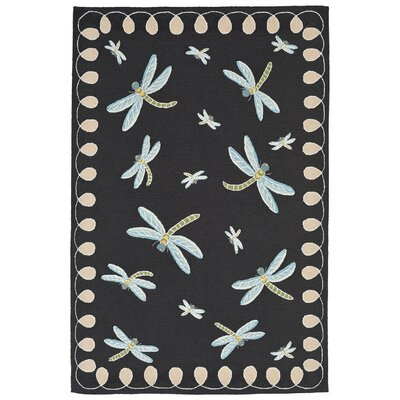 Calderon Dragonfly Hand-Tufted Black Indoor/Outdoor Area Rug Rug Size: 36 x 56