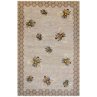Calderon Honeycomb Bee Hand-Tufted Natural Indoor/Outdoor Area Rug Rug Size: 36 x 56