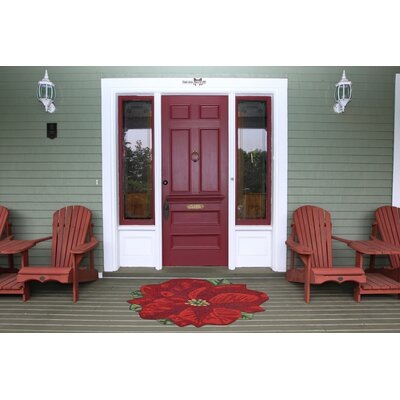 Calderon Poinsettia Hand-Tufted Red Indoor/Outdoor Area Rug Rug Size: 2 x 3