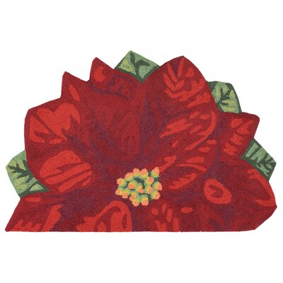 Calderon Poinsettia Hand-Tufted Red Indoor/Outdoor Area Rug Rug Size: Half Circle 2 x 3