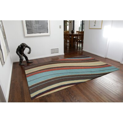 Andres Wave Hand-Tufted Blue Indoor/Outdoor Area Rug Rug Size: 36 x 56