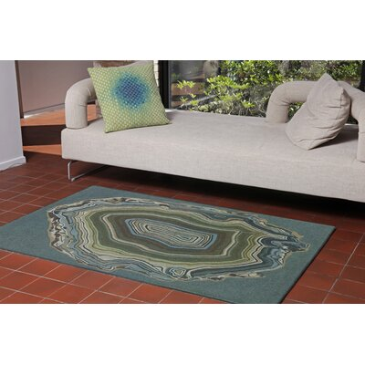 Andres Agate Hand-Tufted Teal Indoor/Outdoor Area Rug Rug Size: 2 x 3