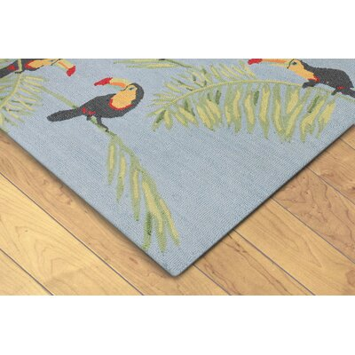Arida Toucans Hand-Tufted Blue Indoor/Outdoor Area Rug Rug Size: 5 x 8