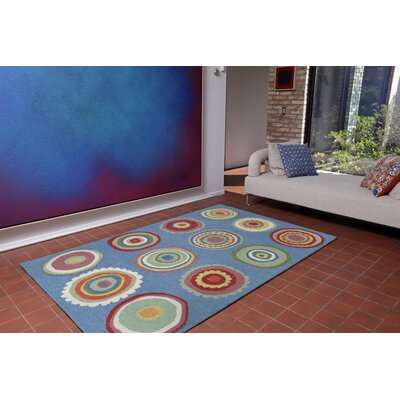 Deontae Circles Hand-Tufted Blue Indoor/Outdoor Area Rug Rug Size: 36 x 56