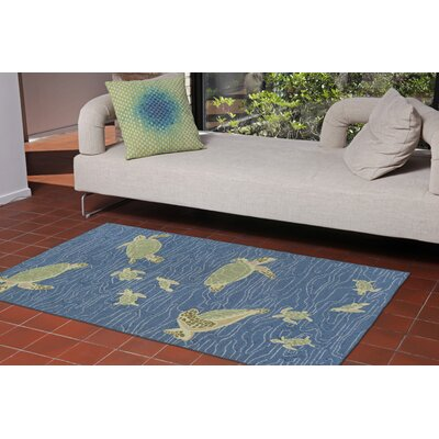 Nancee Seaturtles Hand-Tufted Blue Indoor/Outdoor Area Rug Rug Size: 2 x 3