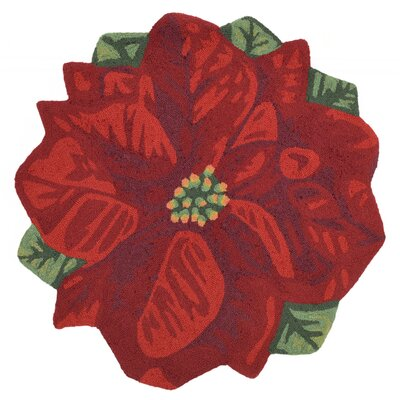 Calderon Poinsettia Hand-Tufted Red Indoor/Outdoor Area Rug Rug Size: Round 3