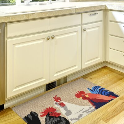 Calderon Roosters Hand-Tufted Natural Indoor/Outdoor Area Rug Rug Size: 18 x 26