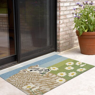 Calderon Sheep Thrills Hand-Tufted Green Indoor/Outdoor Area Rug Rug Size: 18 x 26