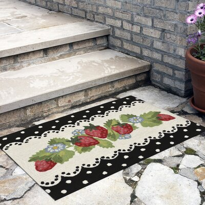 Calderon Strawberries Hand-Tufted Black Indoor/Outdoor Area Rug Rug Size: 18 x 26