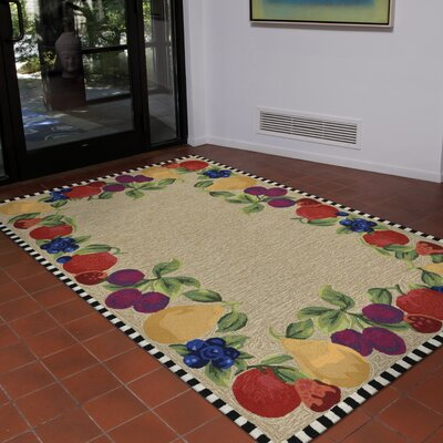 Calderon Fruits Hand-Tufted Beige/Green Indoor/Outdoor Area Rug Rug Size: 36 x 56
