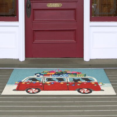 Happy Howlidays Hand-Tufted Red Indoor/Outdoor Area Rug Rug Size: 18 x 26