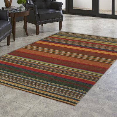 Degennaro Stripes Hand-Tufted Red Indoor Area Rug Rug Size: 36 x 56