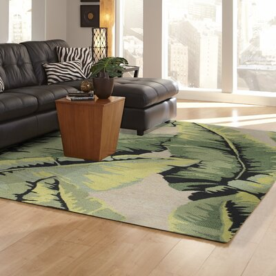 Arida Palm Hand-Tufted Green Indoor/Outdoor Area Rug Rug Size: 36 x 56