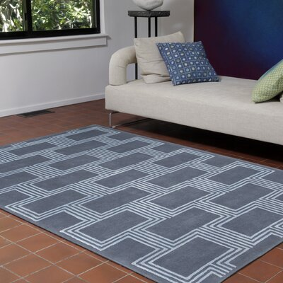 Mitchell Boxes Hand-Tufted Blue Indoor Area Rug Rug Size: 5 x 8
