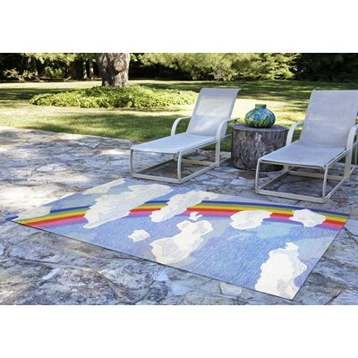 Broderick Rainbow and Clouds Hand-Tufted Multicolor Indoor/Outdoor Area Rug Rug Size: 36 x 56