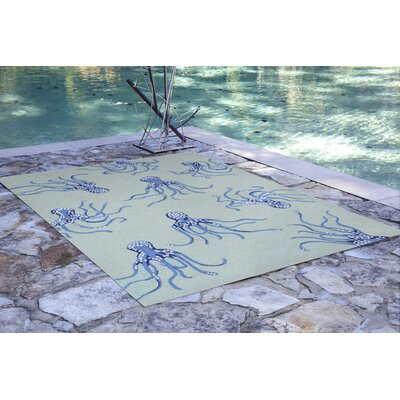 Northfield Octopus Hand-Tufted Blue Indoor/Outdoor Area Rug Rug Size: 36 x 56