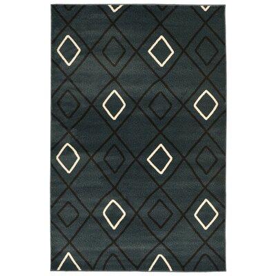 Bunker Tribal Squares Blue/Ivory Area Rug Rug Size: 3'3