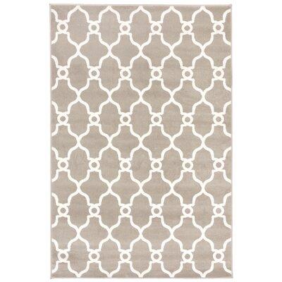 Moline Modern Trellis Silver/White Area Rug Rug Size: 710 x 910