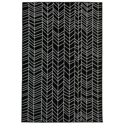 Bunger Lines Black/White Area Rug Rug Size: 33 x 411
