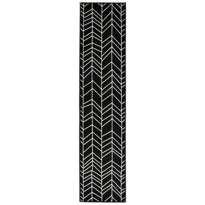 Bunger Lines Black/White Area Rug Rug Size: Runner 18 x 73