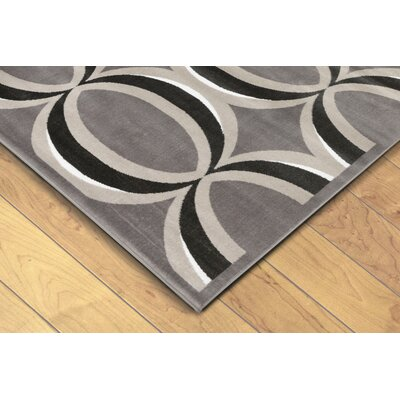 Hughes Eclipse Gray/Black Area Rug Rug Size: 710 x 910