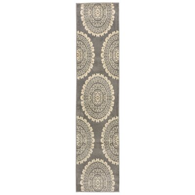 Madalena Circle Medallion Gray/Beige Area Rug Rug Size: Runner 18 x 73