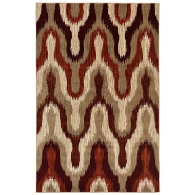 Bunker Modern Ikat Synthetic Beige/Brown Indoor Area Rug Rug Size: 4'10