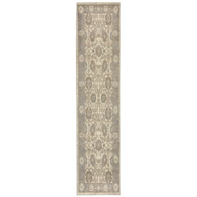 Montes Sarouk Ivory/Gray Indoor Area Rug Rug Size: Runner 18 x 73